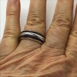 NEW EFFY Silver leather band ring